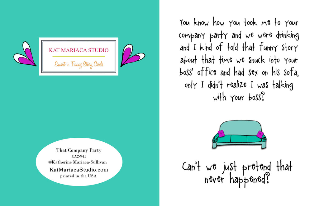 Funny Relationship Card - That Company Party - from Kat Mariaca Studio - KatMariacaStudio - 2