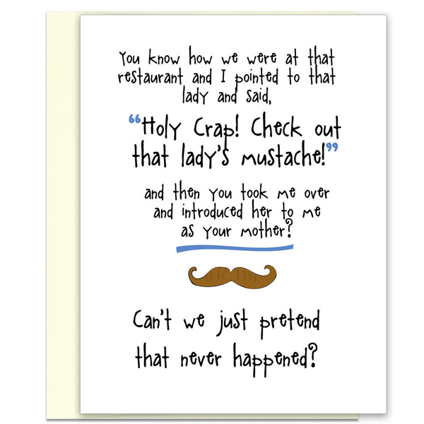 Oops! Embarrassing Greeting Card - That Lady's Mustache - KatMariacaStudio - 1