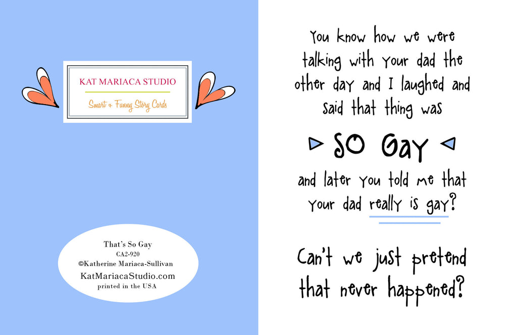 That's SO Gay - a Regretful Let's Pretend Story Card - KatMariacaStudio - 2