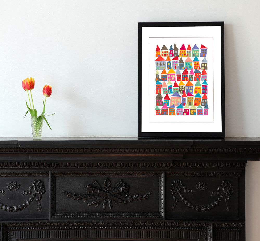 The Neighborhood in Color - Matted Art Print