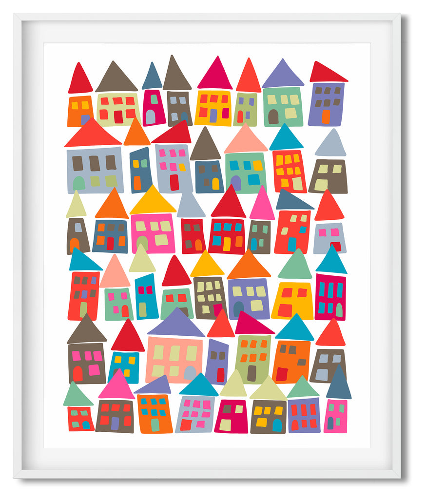 Colorful Wall Art - Modern Folk Art - The Neighborhood in Color