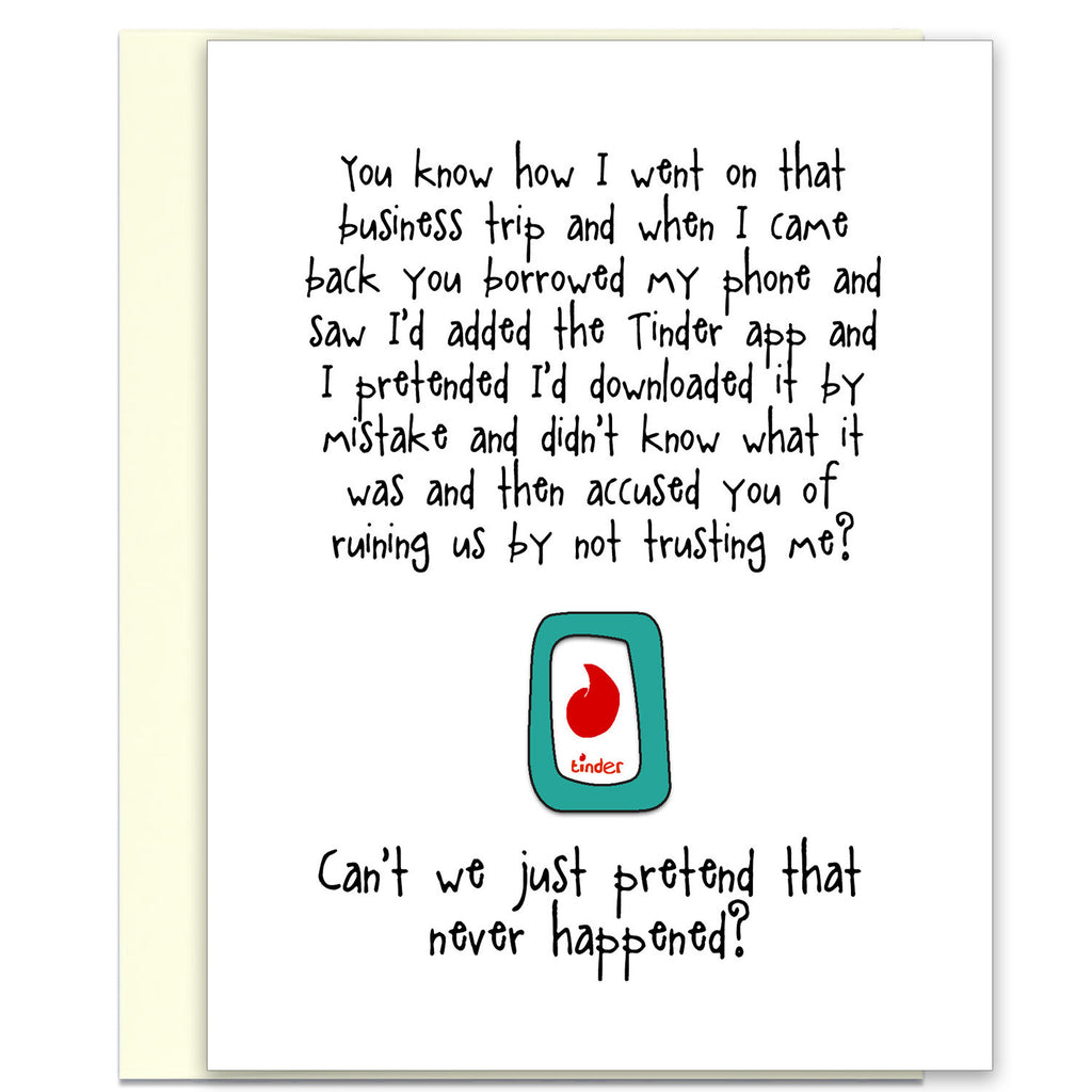 Funny Relationship Card About That Tinder App - Trust Issues - from Kat Mariaca Studio - KatMariacaStudio - 1