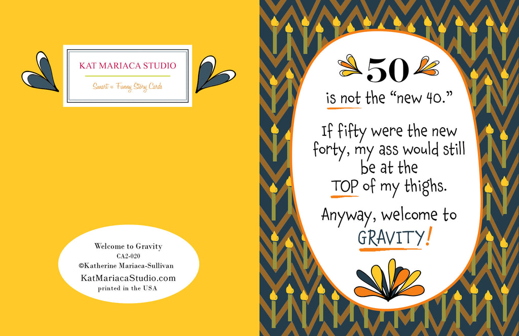 Funny Birthday Card - Welcome to Gravity - KatMariacaStudio - 2