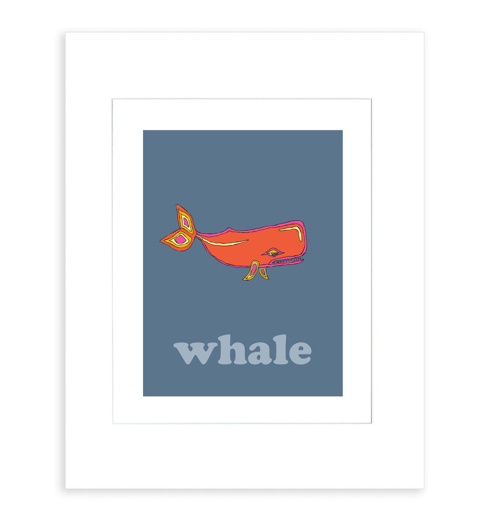Whale - Modern Nursery Room Art - Matted Art Print