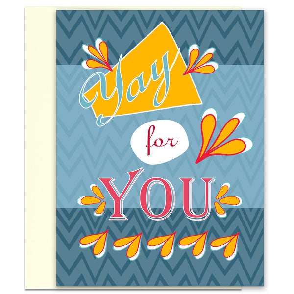 Yay for You - in Blue - Congratulations Card