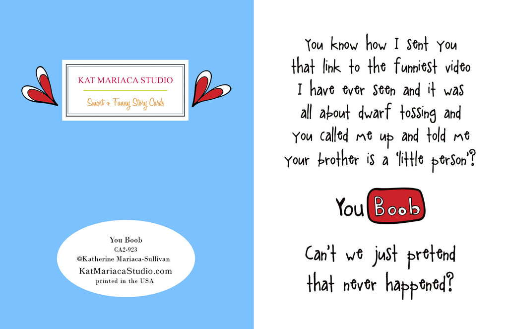 A You Tube Alternative Greeting Card - You Boob - KatMariacaStudio - 2