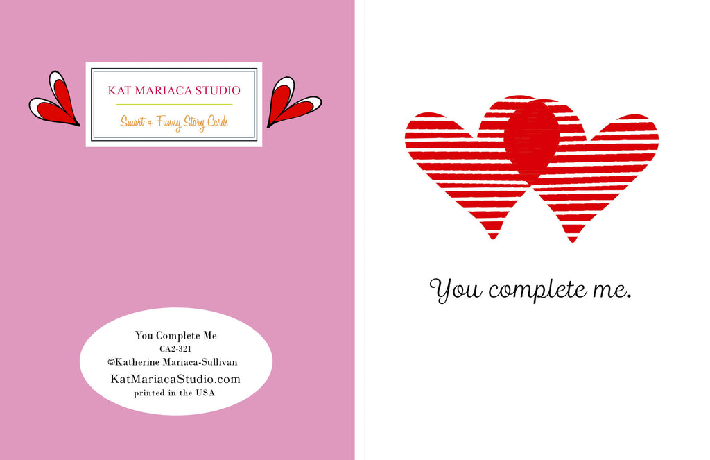 Love Card - Valentine's Day Card - You Complete Me - KatMariacaStudio - 2