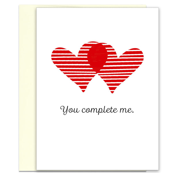 Love Card - Valentine's Day Card - You Complete Me - KatMariacaStudio - 1