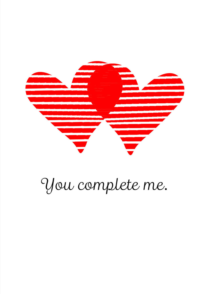 Love Card - Valentine's Day Card - You Complete Me - KatMariacaStudio - 4