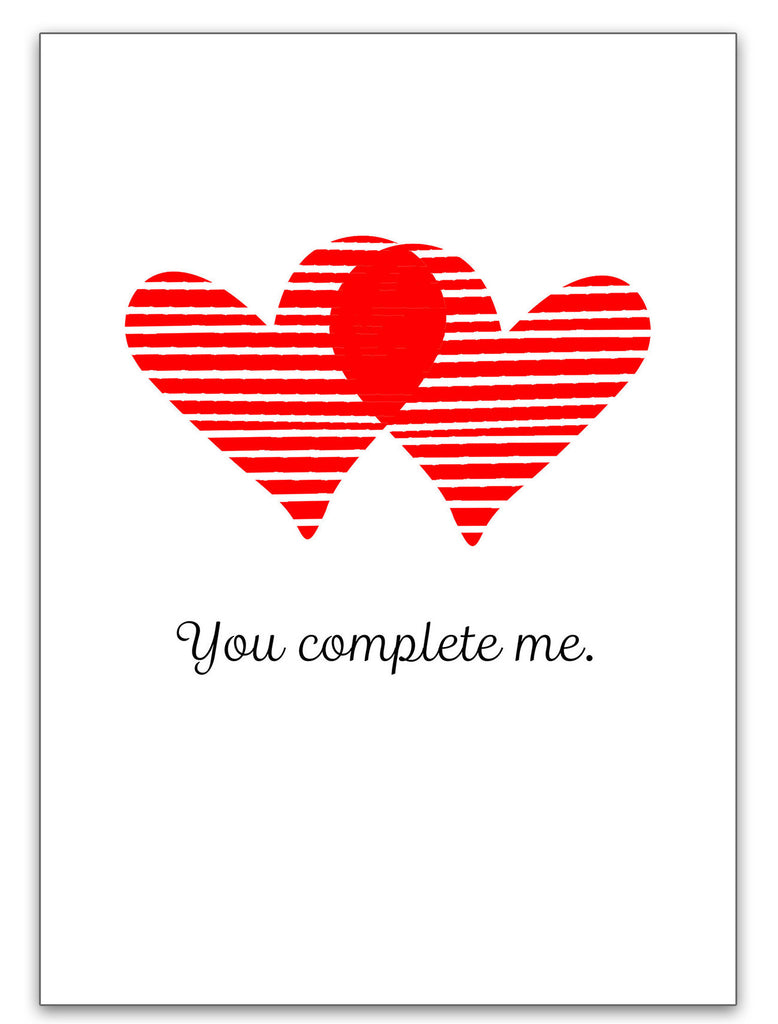 Love Card - Valentine's Day Card - You Complete Me - KatMariacaStudio - 3