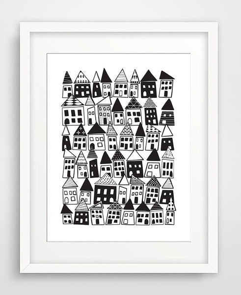 The Neighborhood in Black & White - Matted Art Print - KatMariacaStudio - 1
