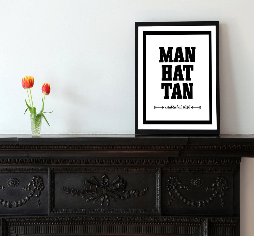 Manhattan - Established 1626 - Matted Art Print - KatMariacaStudio - 2