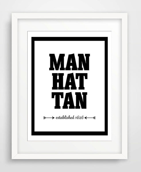 Manhattan - Established 1626 - Matted Art Print - KatMariacaStudio - 1