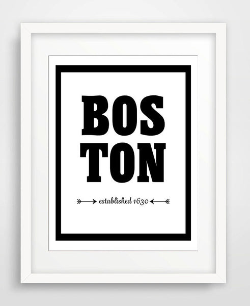 Boston - Established 1630 - City Print - Matted Art Print - KatMariacaStudio - 1