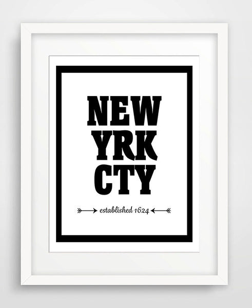 New York City - Established 1624 - Matted Art Print - KatMariacaStudio - 1