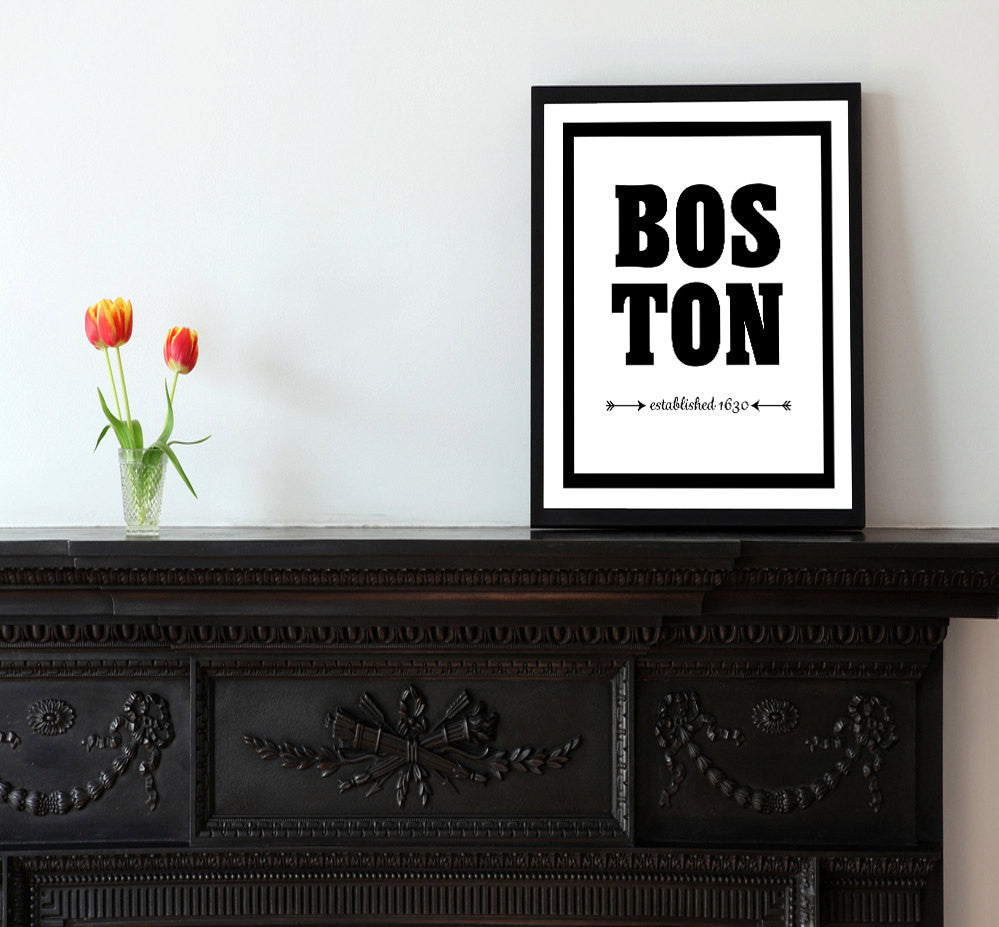Boston - Established 1630 - City Print - Matted Art Print - KatMariacaStudio - 2