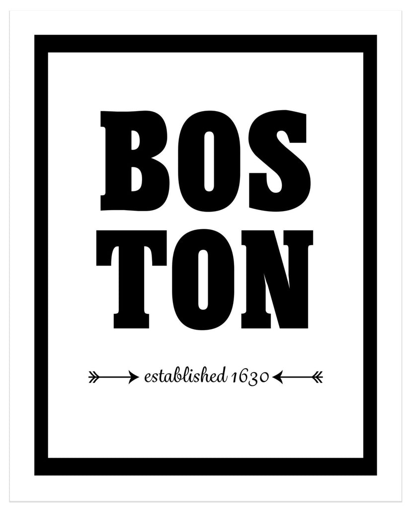 Boston - Established 1630 - City Print - Matted Art Print - KatMariacaStudio - 4