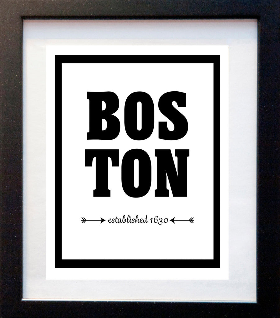 Boston - Established 1630 - City Print - Matted Art Print - KatMariacaStudio - 3