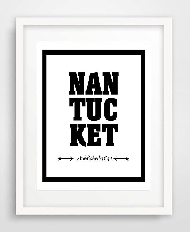 Nantucket - Established 1641 - Matted Art Print - KatMariacaStudio - 1