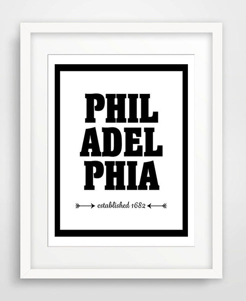 Philadelphia - Established 1682 - Matted Art Print - KatMariacaStudio - 1
