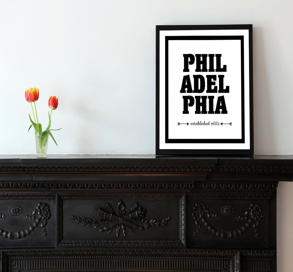 Philadelphia - Established 1682 - Matted Art Print - KatMariacaStudio - 2