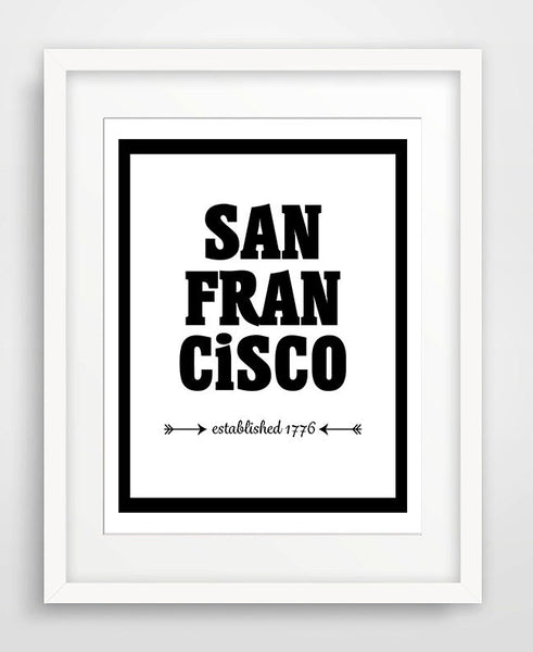 San Francisco - Established 1776 - Matted Art Print - KatMariacaStudio - 1