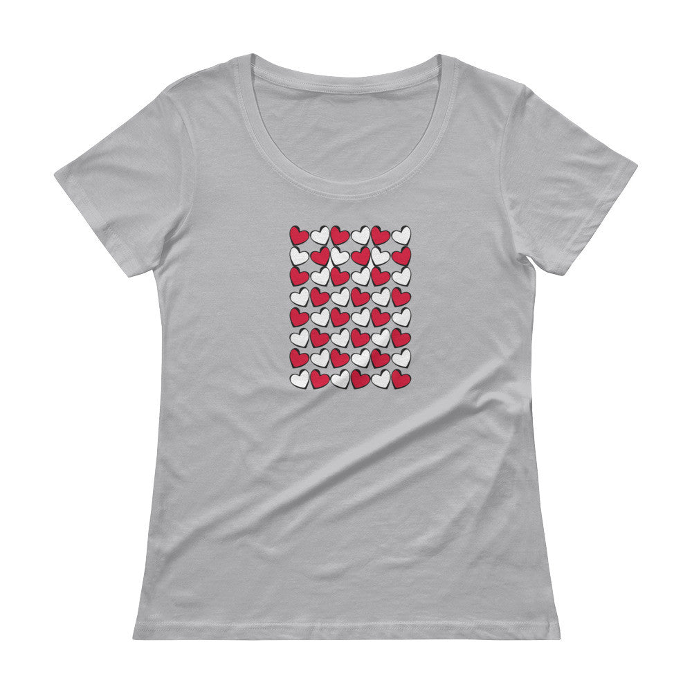 Hearts in Red, Black & White Ladies' Scoopneck T-Shirt