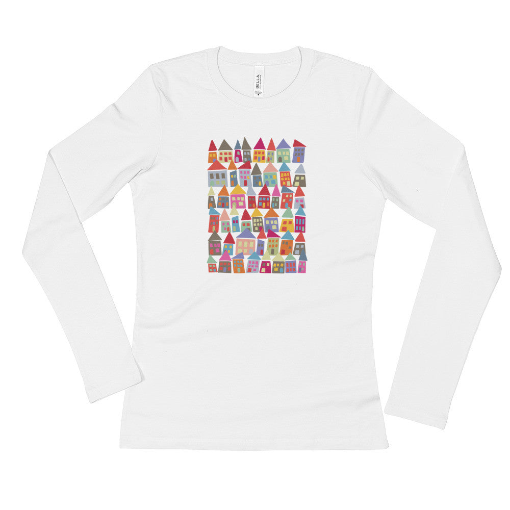 Pretty & Colorful - Comfortable Ladies' Long Sleeve T-Shirt - The Neighborhood in Color