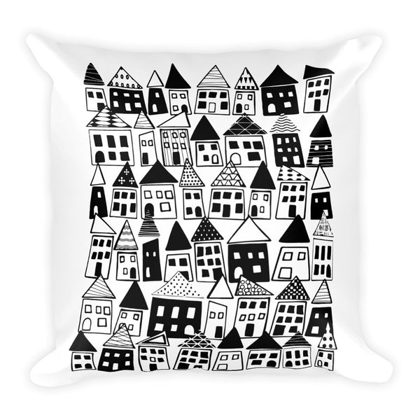 Black & White Folk Art Pillow - The Neighborhood in Black & White - KatMariacaStudio