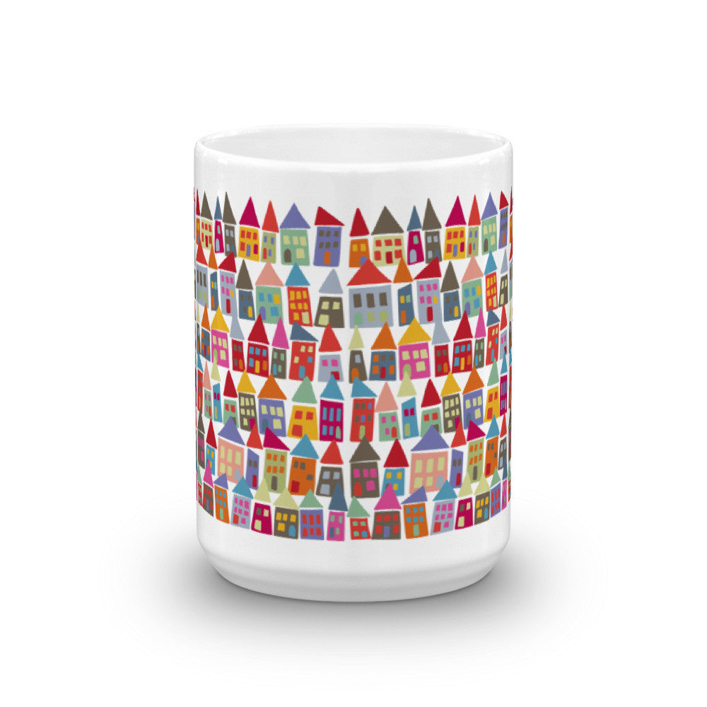 Fun, Colorful Coffee Mug - The Neighborhood in Color
