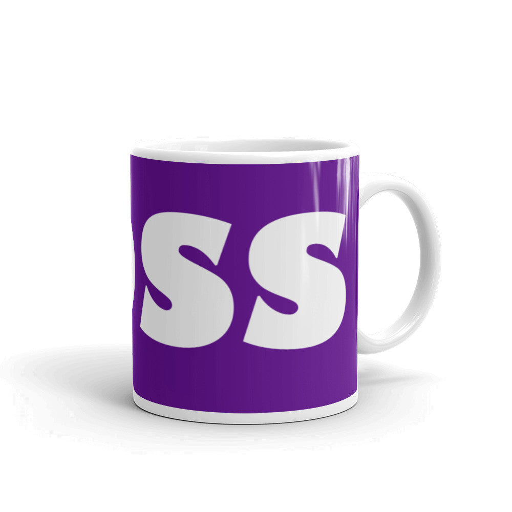 Boss Coffee Mug on Vibrant Purple - KatMariacaStudio