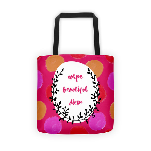 Gorgeous Carpe Beautiful Diem All-Over Tote Bag - Shopping Bag - Grocery Bag
