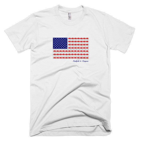 Starfish & Stripers American Flag Men's Short-Sleeve T-Shirt - KatMariacaStudio - 5