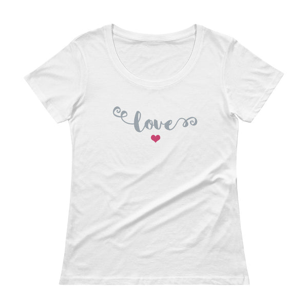 Love Ladies' Scoopneck T-Shirt with Pink Heart