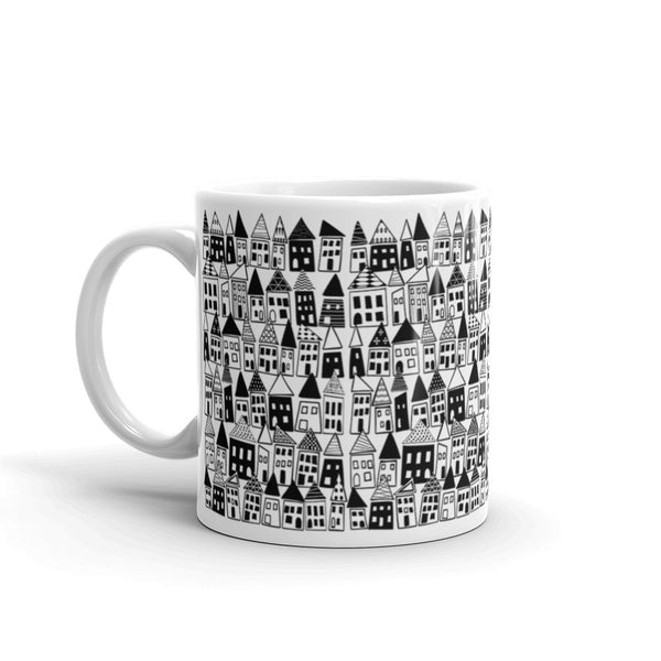 Black & White, Bold, Minimalist Coffee Mug - The Neighborhood in Black & White - KatMariacaStudio