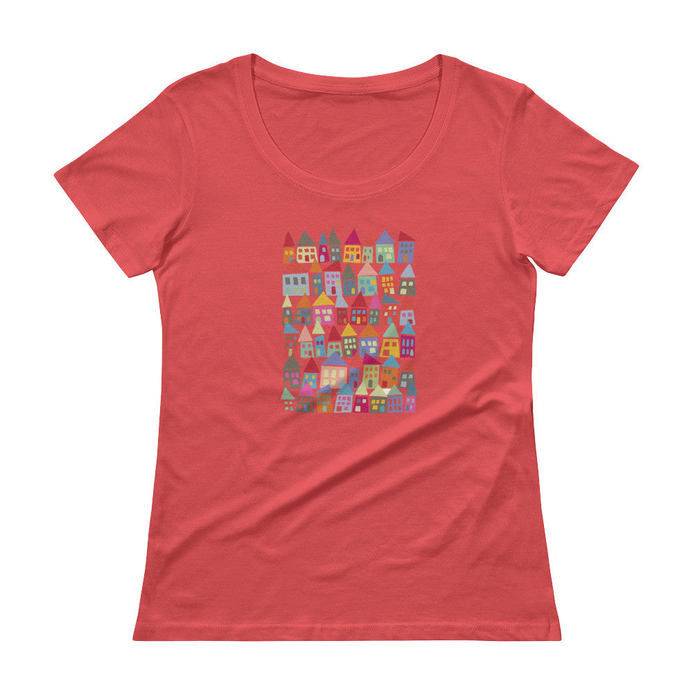 Bright & Colorful Ladies' Scoopneck T-Shirt - The Neighborhood in Color