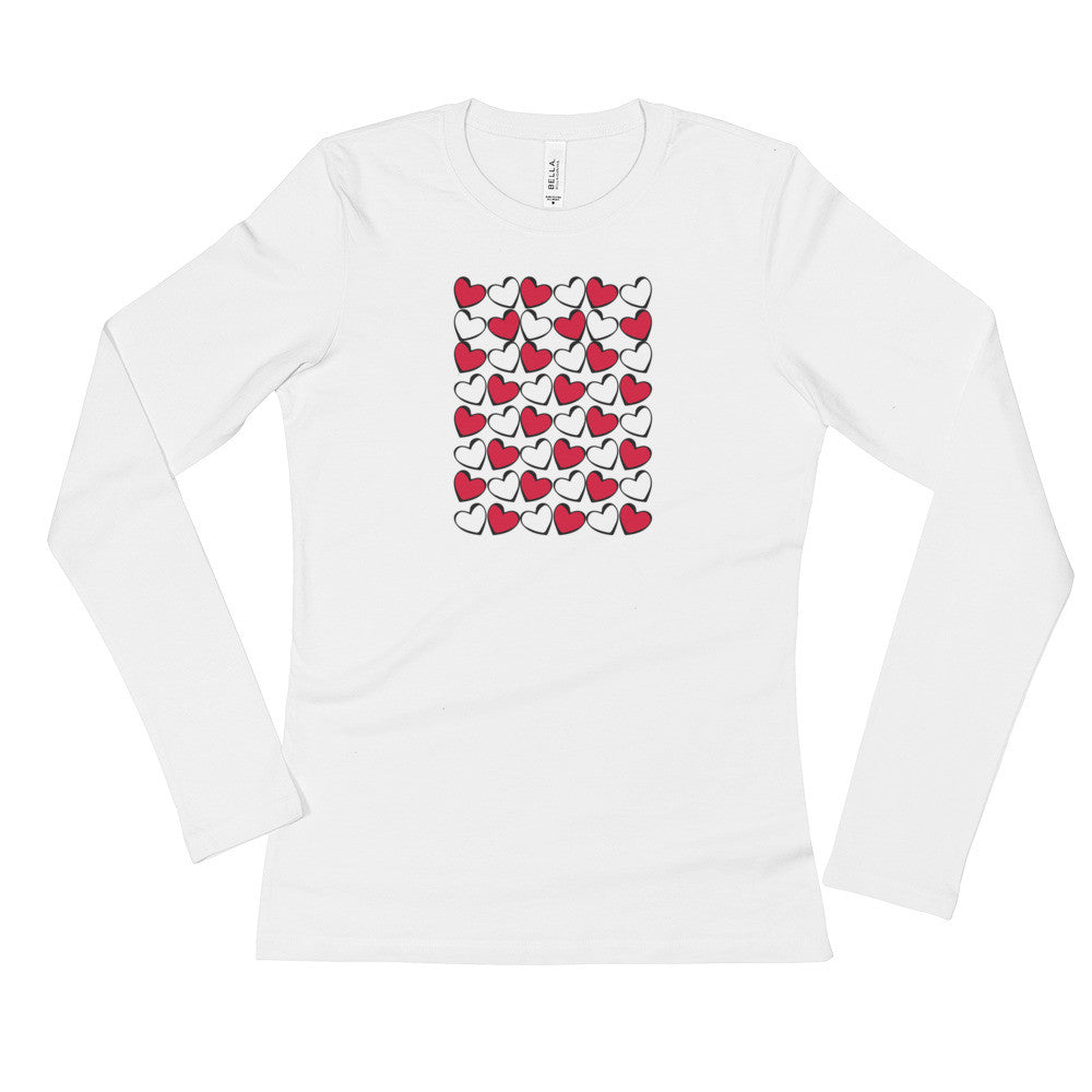 Hearts in Red, Black & White Ladies' Long Sleeve T-Shirt