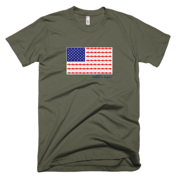 Starfish & Stripers American Flag Men's Short-Sleeve T-Shirt - KatMariacaStudio - 2
