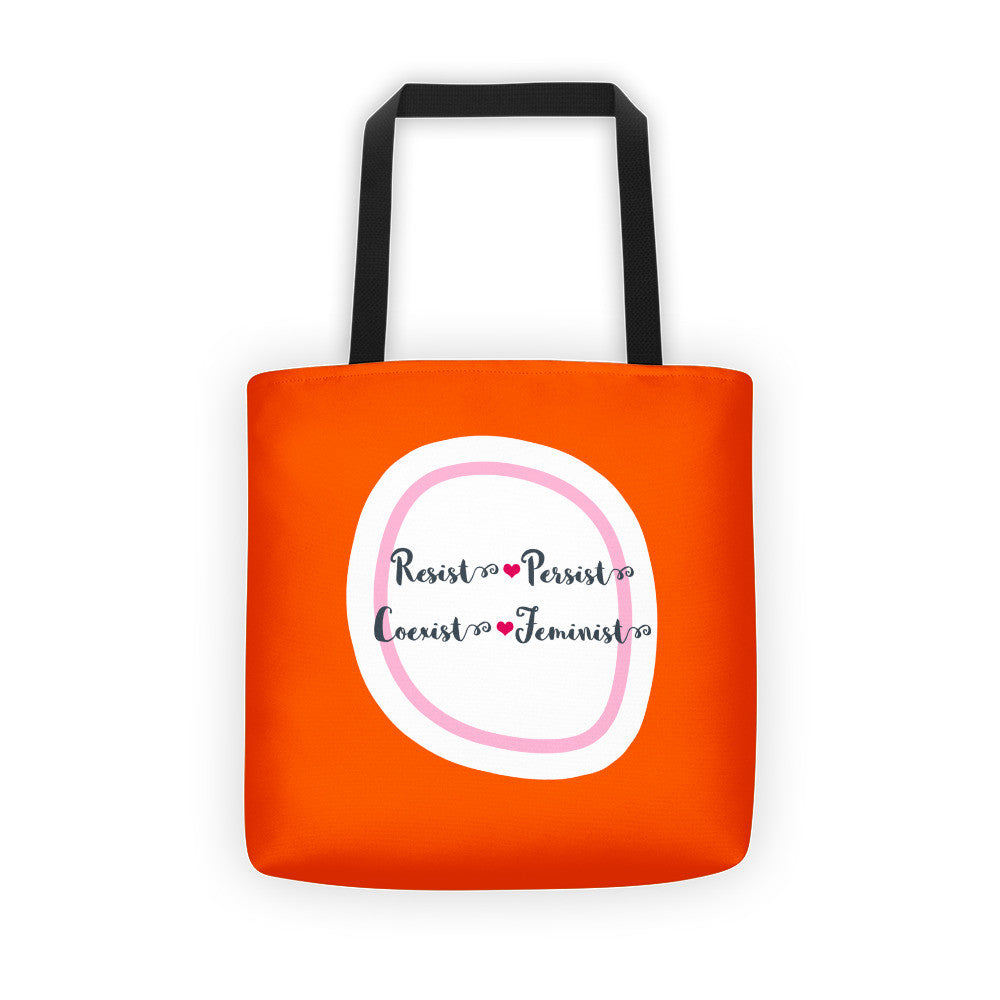 Resist Persist Coexist Feminist - All Over Tote Bag in Orange