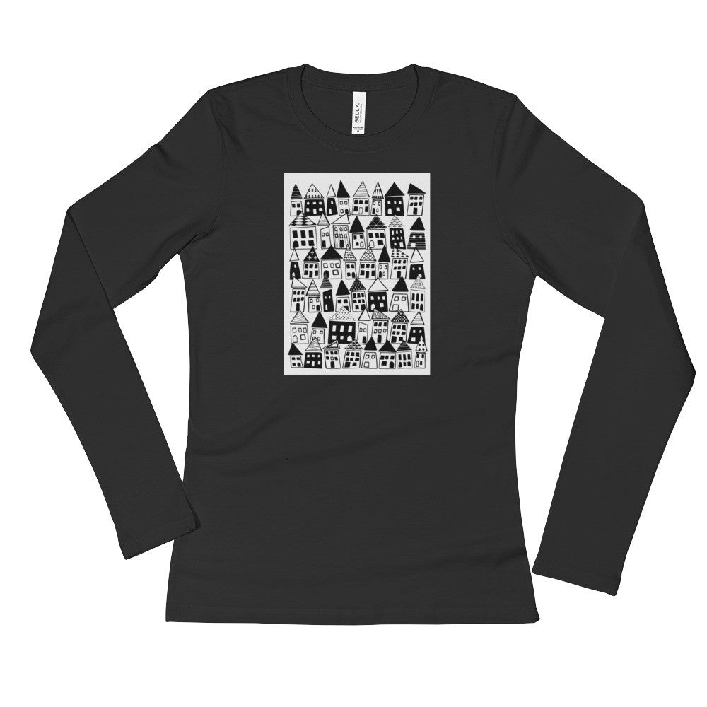 Ladies' Long Sleeve T-Shirt - The Neighborhood in Black & White