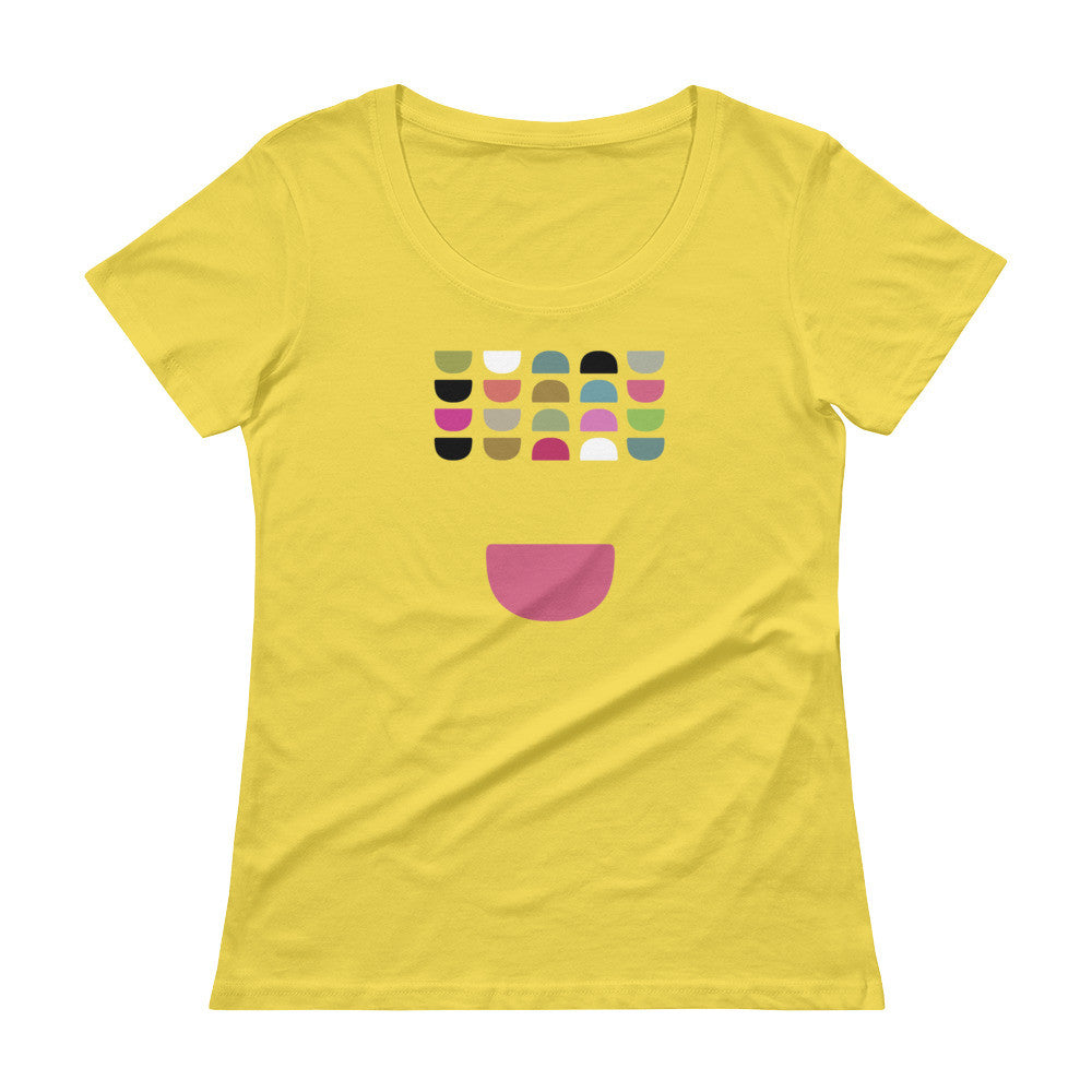 Colorful Mid Century Modern Ladies' Scoopneck T-Shirt - Bowls in Color