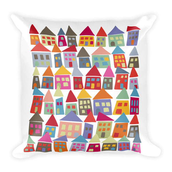 Colorful & Bright Square Pillow - The Neighborhood in Color