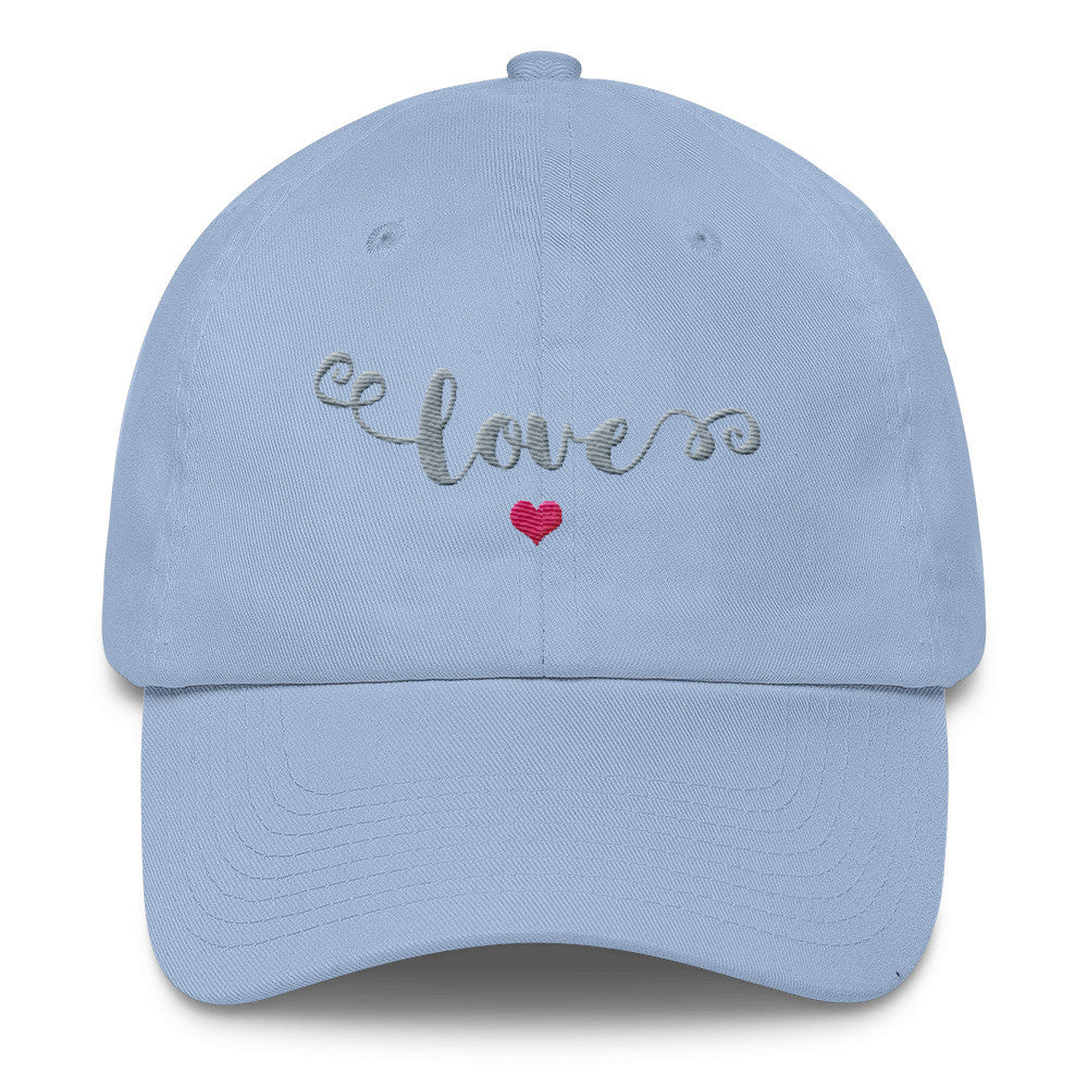 Love - Your New Favorite Embroidered Cotton Cap - in Silver & Pink