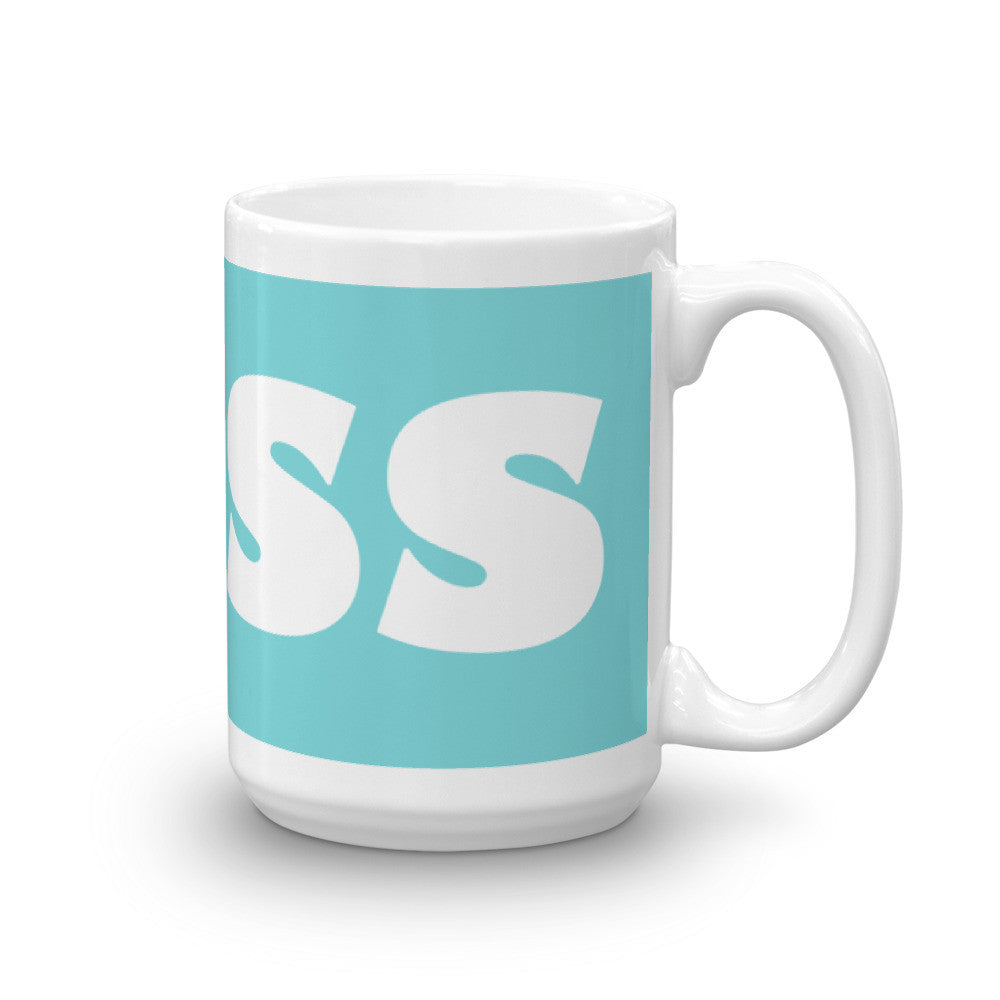 Boss Coffee Mug on Robin's Egg Blue - KatMariacaStudio
