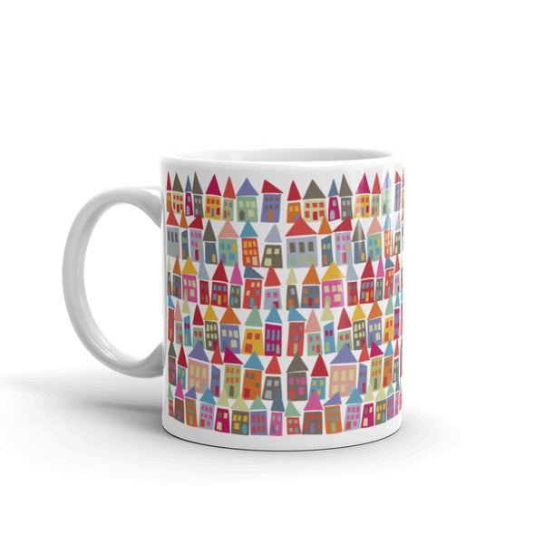 Bold, Colorful & Fun Morning Coffee Mug - The Neighborhood in Color - KatMariacaStudio
