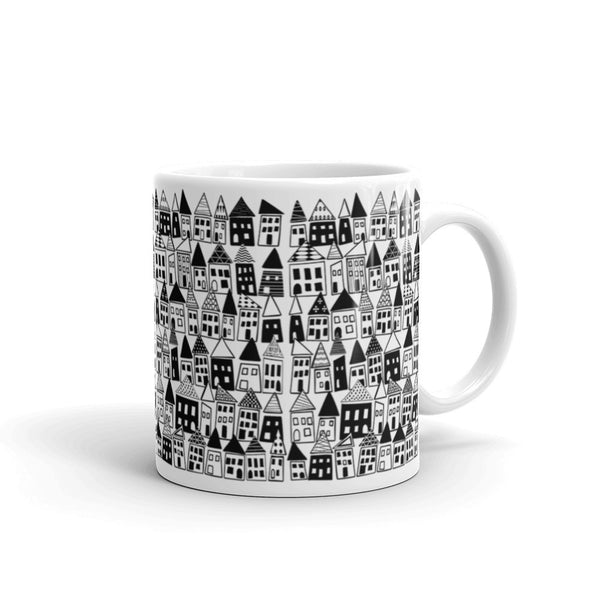 Black & White, Bold, Minimalist Coffee Mug - The Neighborhood in Black & White