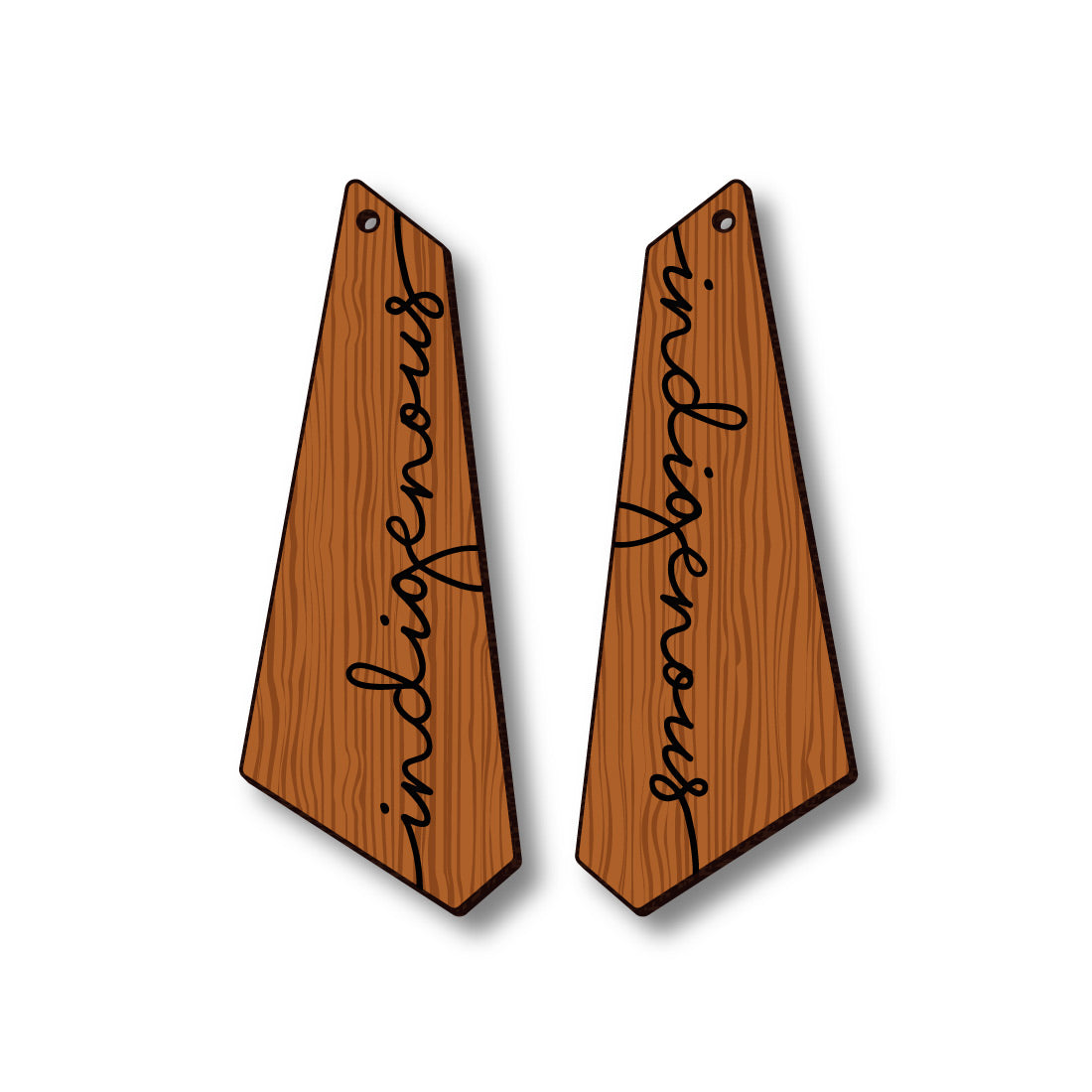 David Bernie Shop Laser Cut Cherry Wood Earrings Indigenous II