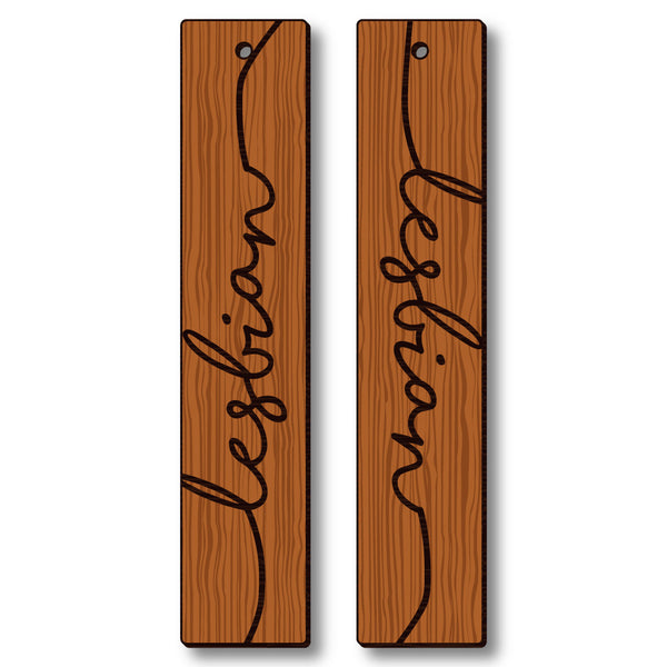 David Bernie Shop Laser Cut Cherry Wood Earrings Lesbian