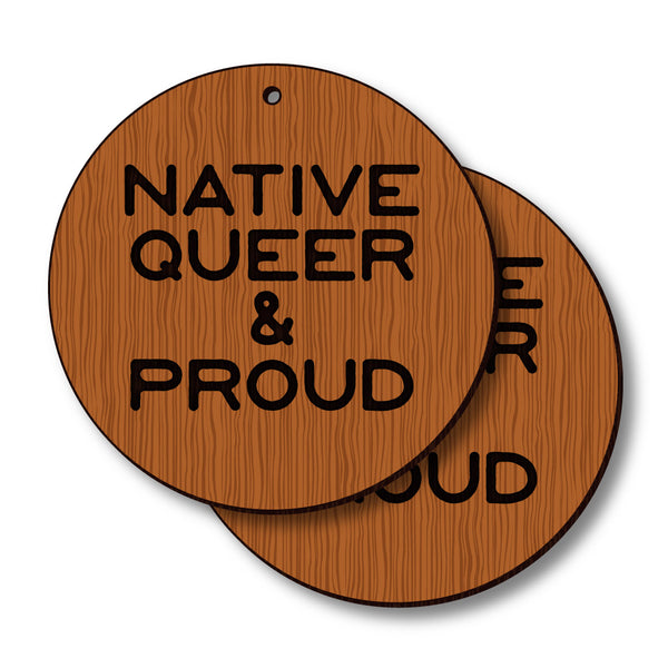David Bernie Shop Laser Cut Cherry Wood Earrings Native Queer Proud