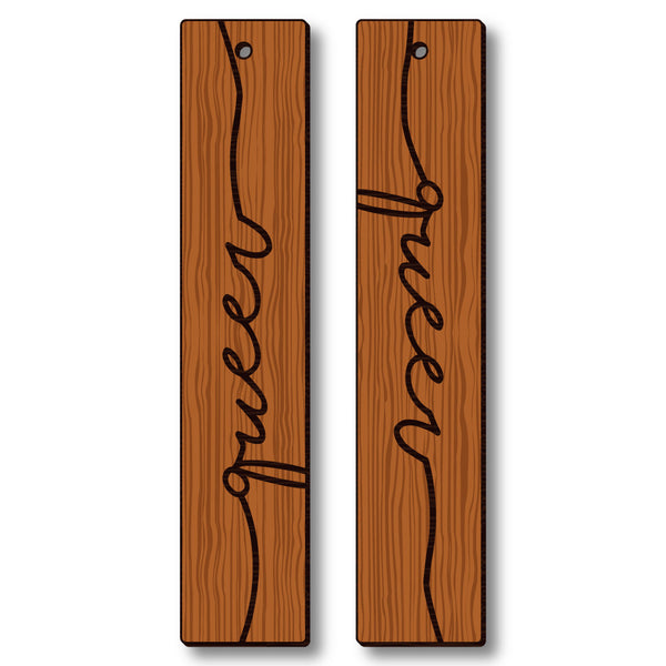 David Bernie Shop Laser Cut Cherry Wood Earrings Queer